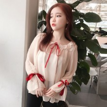 Women Peach Sheer Doll Blouse Sweet Bow Trumpet Sleeve Chic Tops
