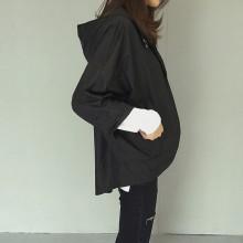 Women Windbreaker Hooded Jacket Long Sleeve Chic Rain Fashion Cloak