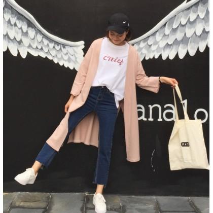 Women Long Cardigan Jacket Retro Fashion Loose Chic Windbreaker