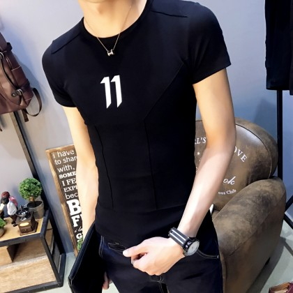 Men's Slim Fit Basic Trendy Tees Stretch Fabric Plus Size Male Shirt