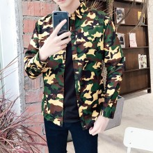 Men's Camouflage Long Sleeve Slim Fit Jacket Fashion Military Coat