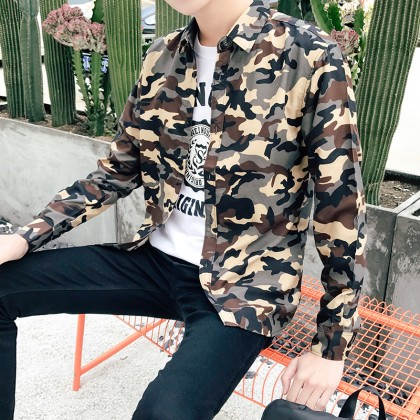 Men's Camouflage Long Sleeve Slim Fit Jacket Fashion Military Coat