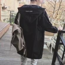 Men's Windbreaker Long Coat Hoodie Jacket Couple Plus Size Jacket