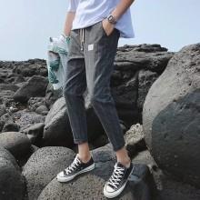 Men's Plaid Crop Pants Casual Trend Slim Fit Male Soft Cloth Pants