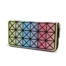 Women Geometric Pattern Long Zippered Wallet Ladies Money Purse