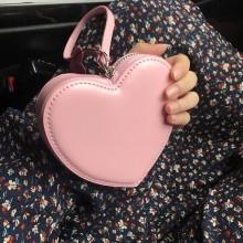 Women Cute Heart Shape Pink Coin Purse Trendy Style Little Hand Bag