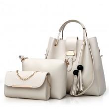 Women Fashion 3 Piece Bag Set Tassel Large Handbag Chic Shoulder Bag