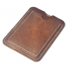 Men's Leather Driver License Card Case Slim Money Clip Mini Wallet
