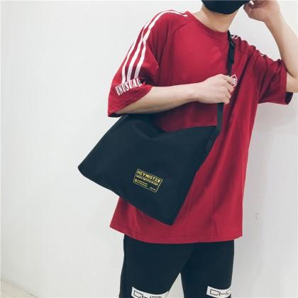 Men's Simple Canvas Large Capacity Tote Bag Unisex Couple Sling Bag