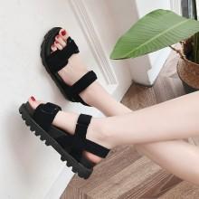 Women Suede Strap Sandals Thick Platform Plus Size Ladies Shoes