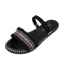 Women Ethnic Fringe Summer Flip Flops Plus Size Ladies Flat Sandals