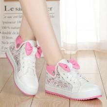 Women Cute Ribbon Mesh Rubber Shoes Teen Fashion Plus Size Sneakers