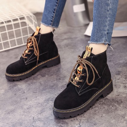 Women Ankle High Velvet Boots Lace Up Low Heel Plus Size Boots