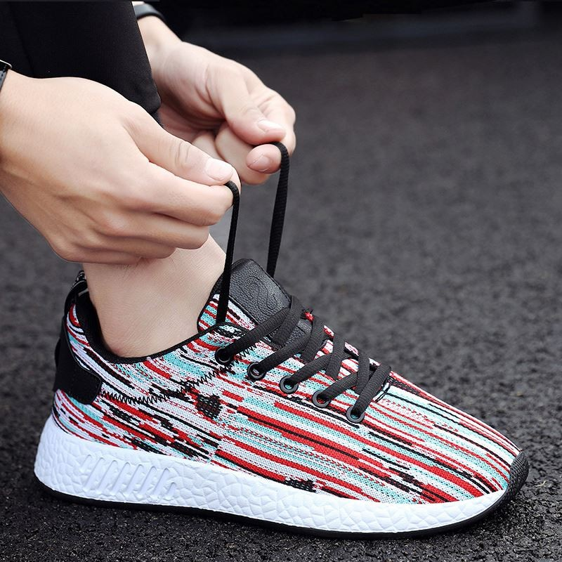 Men's Weave Design Breathable Lace Up Comfort Wear Male Sports Shoes