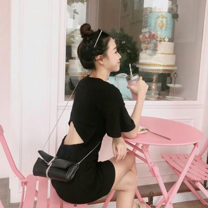 Women Little Black Sexy Back Dress Round Neck Summer Fashion Short Skirt Dress