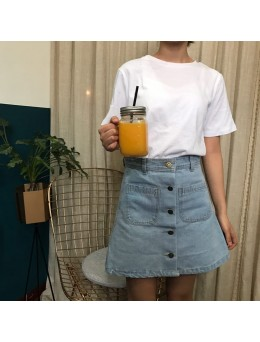 Women Denim Cowboy Skirt Double Pocket Button Up Chic Fashion Plus Size Bottoms