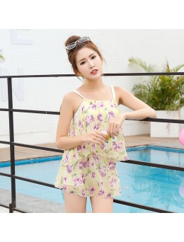 Women Floral Backless Sexy Swimsuit Skirt Type Conservative Plus Size Swimwear