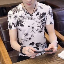 Men's Nature Print Silk Tees Slim Fit V Neck Stretchable Male Plus Size T Shirts