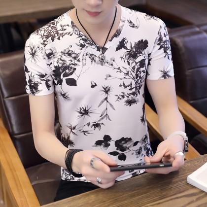 Men's Nature Print Silk Tees Slim Fit V Neck Stretchable Male Plus Size T Shirts
