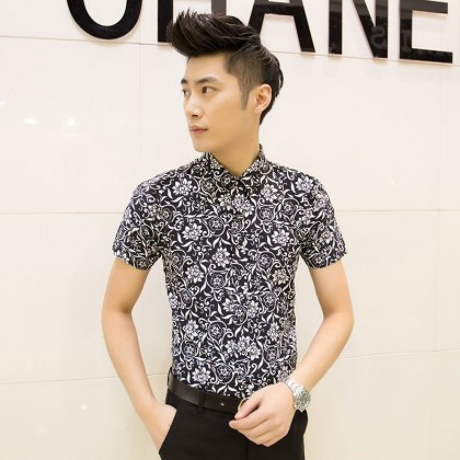 Men's Floral Polo Shirt Slim Fit Collared Short Sleeve Casual Plus Size Shirts