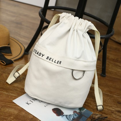 Women Round Cloth Drawstring Bag Street Fashion Unisex Couple Backpack