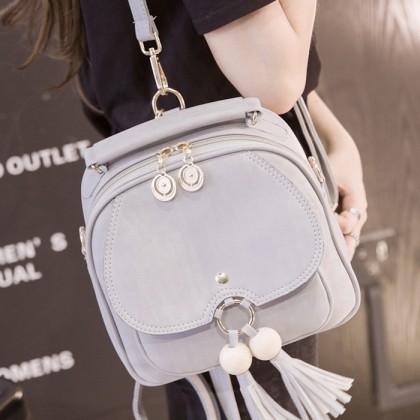 [READY STOCK] Women Cute Mini Backpack Tassel Fringe Wild Trend Female Fashion Mobile Bag