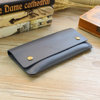 Men's Leather Long Thin Wallet Card Section Unisex Mobile Phone Purse Bag