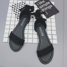 Women Suede Open Sandals Ankle Lace Tie Ladies Fashion Plus Size Flat Sandals