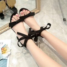 Women Suede Ribbon Ankle Tie Sexy High Heels Ladies Fairy Fashion Sandals
