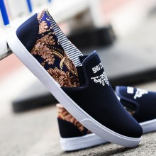 Men's Gold Print Casual Peas Shoes Everyday Wear Male Trend Flat Canvas Shoes