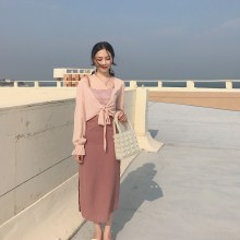 Women Chic Style Sleeveless Strap Long Skirt Dress Pink Tie Up Summer Cardigan
