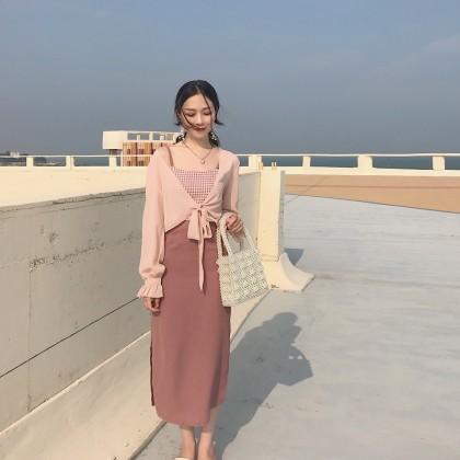 Women Chic Style Sleeveless Strap Long Skirt Dress Pink Tie Up Summer Cardigan