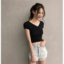 Women Knitted V Neck Sexy Back Short Sleeve Crop Top Slim Fit Ladies Shirt
