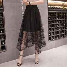 Women Mesh Lace High Waist Skirt Wild Style Trend Plus Size Fashion Long Skirt