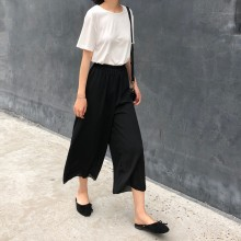 Women Solid Color Chiffon Long Pants Summer Fashion Loose Wide Leg Square Pants