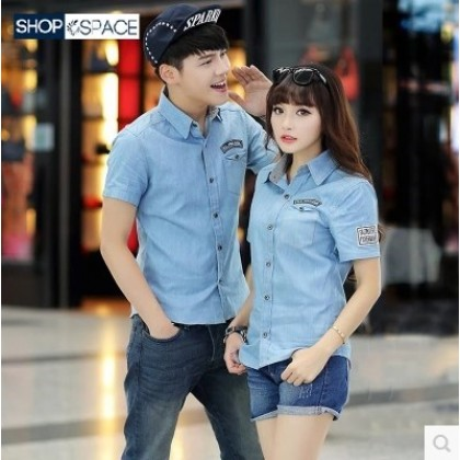Men's Denim Polo Collared Shirt Short Sleeve Hot Trend Couple Plus Size Tops