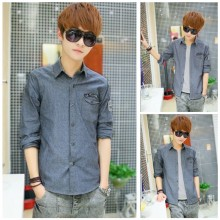 Men's Denim Long Sleeve Polo Collared Shirt Male Fashion Trend Casual Shirt