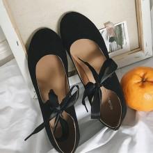 Women Suede Cross Strap Bow Tie Ballerina Shoes Ladies Fashion Flat Shoes