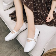 Women Retro Peas Square Head Strap Buckle Ladies Fashion Plus Size Flat Shoes
