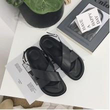 Women Black Simple Cross Open Toe Wild Summer Trend Ladies Plus Size Sandals