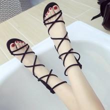Women Roman Strap Sandals Back Zipper Comfort Wear Summer Fashion Flat Shoes