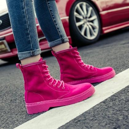 Women Suede High Boots Lace Up Retro Chic Autumn Fashion Ladies Plus Size Boots
