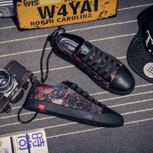 Men's Colored Print Wild Board Shoes Stretch Lace Up Social Trend Canvas Shoes