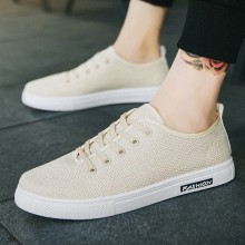 Men's Breathable Casual Linen Shoes Lace Up Summer Outdoor Fashion Canvas Shoes