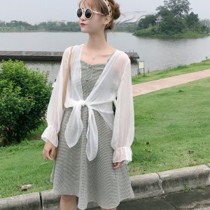 Women Plaid Sleeveless Dress Sun Protection Cardigan Female Chic Fashion Dress