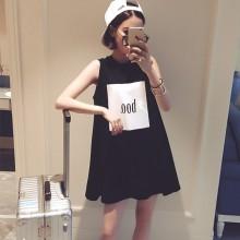 Women Long Vest Suspenders Loose Sleeveless Chic Fashion Plus Size Mini Dress