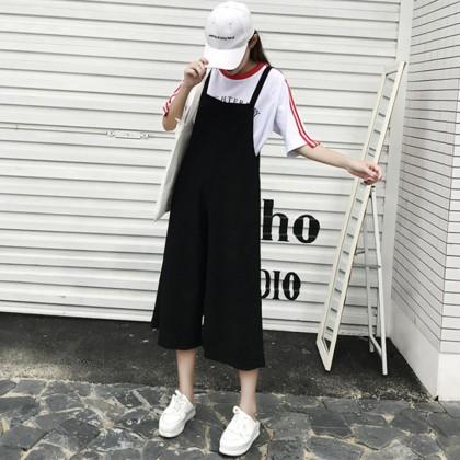 Women Black Loose Jumpsuit Wide Leg Casual Chic Fashion Ladies Plus Size Bottoms