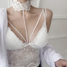 Women Sexy Lace Tube Top Hanging Neck Strap Wrapped Chest Seamless Ladies Bra
