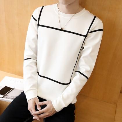 Men's Hot Trend Long Sleeve Sweat Shirt Slim Fit Male Fashion Plus Size Tops
