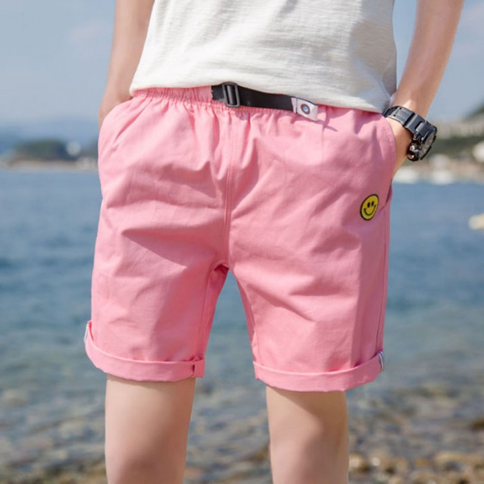 Men S Smiley Casual Short Side Pocket Slim Fit Summer Beach Fashion